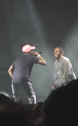 Isaiah Rashad - Rashad (left) and Kendrick Lamar (right) performing during the FYF Fest in August 2016.