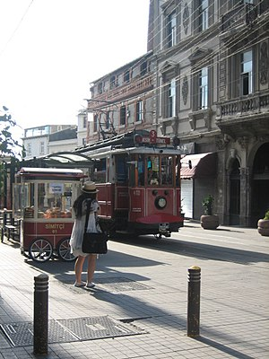 İstiklal Avenue - A historic tram in front of the Beyoğlu station of Tünel (1875) at the southern end of İstiklal Avenue.