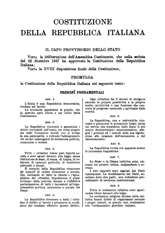 Costituzione della Repubblica Italiana aggiornata al
