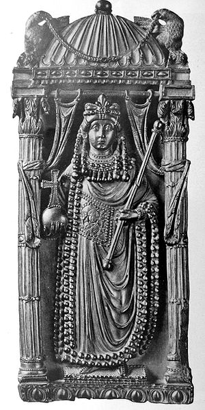 Ariadne (empress) - Part of a 5th-century imperial diptych thought to represent the empress Ariadne. Firenze, Bargello.