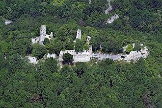 Dobrá Voda, Trnava District - Dobrá Voda castle above the village