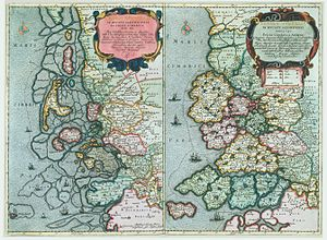 North Frisia - Maps of North Frisia in 1651 (left) and 1240 (right) as drawn by cartographer Johannes Mejer (died 1674). Note the change in the coastline with submerged areas being indicated in the 1651 panel.