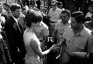 Brigade 2506 - John F. Kennedy and Jackie Kennedy greet members of the brigade at the Orange Bowl