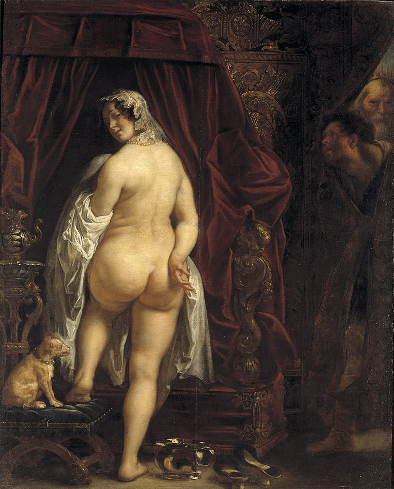 Woman undresses while two men watch