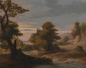 A Wooded River Landscape with Mother and Child