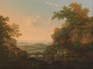 A River Scene with Thatched Huts by a Bridge over a Weir