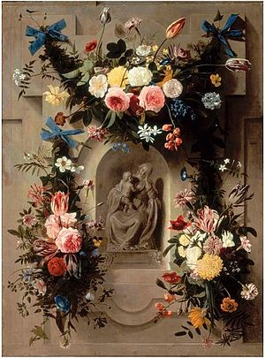 Jan Anton van der Baren - Garlands of flowers surrounding a statue of the Madonna and Child