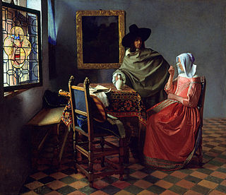 <i>The Wine Glass</i> painting by Johannes Vermeer