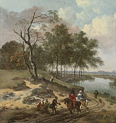 Landscape with horsemen and beggars