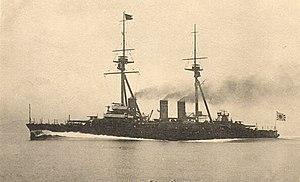 Japanese battleship Settsu - A postcard of Settsu at speed