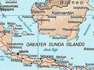 Kangean Islands - Kangean islands appear on this map as one island northeast of 'a' in Surabaya.