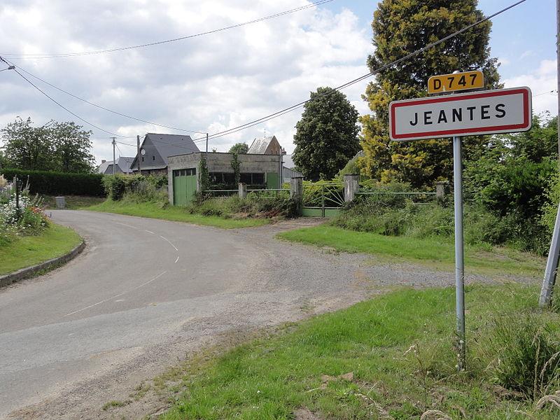 Jeantes (Aisne) city limit sign