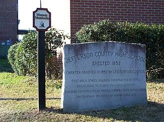 Monticello High School (Florida) - Image: Jefferson Cty High School Monticello marker 01