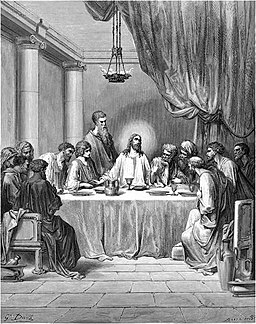 Jesus and the disciples at the Last Supper