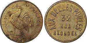 Aux Belles Poules - Brothel token from the Aux Belles Poules