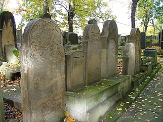 New Jewish Cemetery, Kraków - Alleyway between tombs
