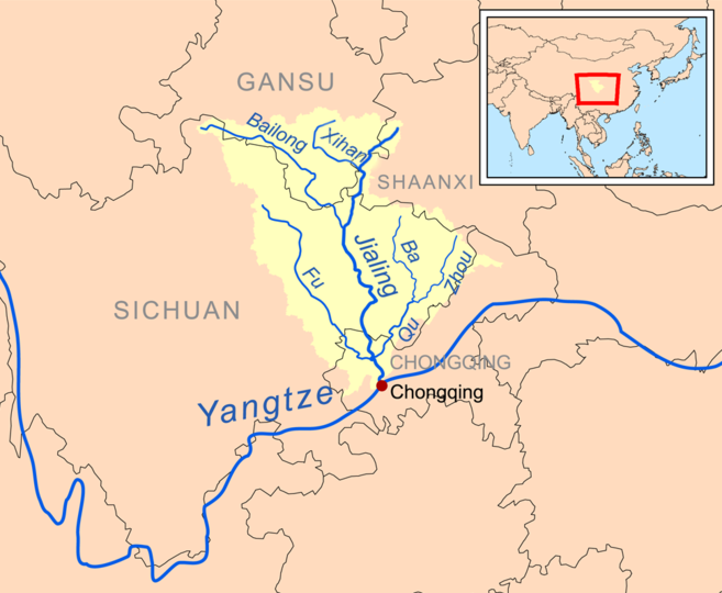 Jialing River  (which itself is a tributary of the Yangtze River) and tributaries.