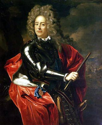 Churchill wrote a biography of his ancestor John Churchill, 1st Duke of Marlborough, in the mid-1930s John Churchill Marlborough porträtterad av Adriaen van der Werff (1659-1722).jpg