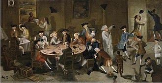 Stephen Hopkins (politician) - Hopkins (dozing at the table) and other Rhode Island merchants in Sea Captains Carousing in Surinam, a 1750s satirical painting by John Greenwood