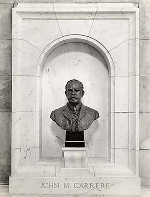 New York Public Library Main Branch - Bronze bust of John Merwen Carrère, Carrère and Hastings, architects of the New York Public Library