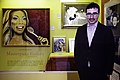 John Oliver (cutout) and paintings in Last Week Tonight's Masterpiece Gallery at the Judy Garland Museum.jpg
