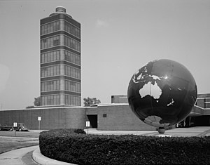Johnson Wax Headquarters - Exterior, viewed towards the east, of the Johnson Wax Headquarters building