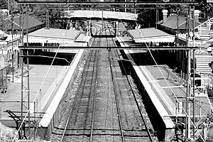Jolimont railway station - Black and white image of Jolimont station.