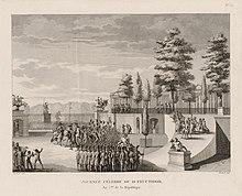 eau forte représentant l'avancée de l'armée au palais des Tuileries