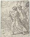 Judit en haar dienares verlaten Bethulië Judit en Holofernes (serietitel), RP-P-OB-7310.jpg