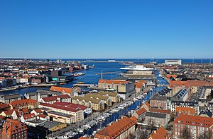 Port of Copenhagen - Copenhagen harbor seen from the spire of Our Saviour's Church, March 2013