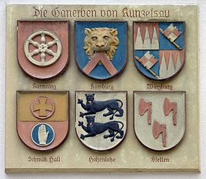 Ganerbschaft - Coats of arms of the co-heirs on the Old Town Hall in Künzelsau