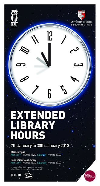University Students' Council (Malta) - Extended Library Hours in 2013