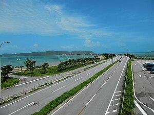 Uruma - Mid-Sea Road, which connects the Katsuren Peninsula to the Yokatsu Islands