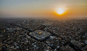 Karbala - The Mosques of Imam Hussain (foreground) and Abbas (background), in Karbala.