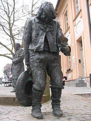 Kaspar Hauser - Statue of Kaspar, old city centre, Ansbach, Germany