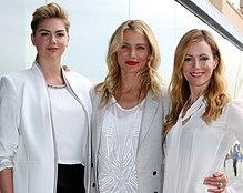 Kate Upton con Cameron Diaz e Leslie Mann nel 2014, all'anteprima di Tutte contro lui.