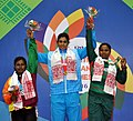 Kavita Devi (India) won Gold, Wickeramasinghe Ashini Surangi Wickeramasingh A Mudiyan Selage (Sri Lanka) won Silver and Firoga Parvin (Bangladesh) won Bronze medal in 75 kg Women's Weight Lifting.jpg