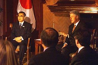 Keizō Obuchi - with Bill Clinton (in Cologne, North Rhine-Westphalia on June 18, 1999)