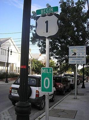 U.S. Route 1 - Mile zero in Key West