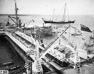 Port of Karachi - Karachi Port in 1906 - Farewell arch erected by the Karachi Port for the Royal visit of King George V