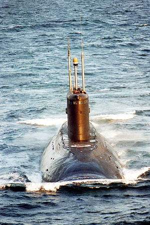 Kilo-class submarine - A Russian, Kilo-class diesel-powered attack submarine underway on the surface.