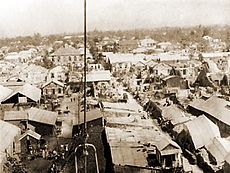 Bird's eye view of Kingston after the 1907 earthquake.