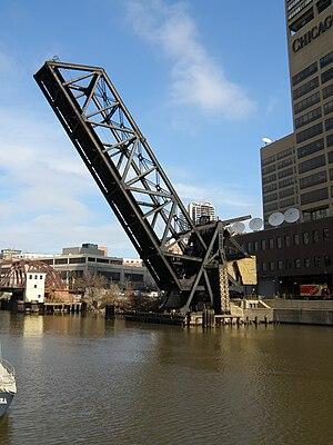 Kinzie Street railroad bridge - Kinzie Street railroad bridge permanently locked in the raised position