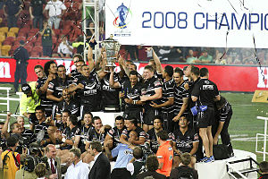 2008 Rugby League World Cup Final - The Kiwis celebrating after their victory.