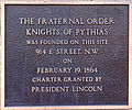 Knights of Pythias founding plaque.jpg