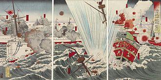 Battle of the Yalu River (1894) - Image: Kobayashi Sojiro Waga kantai daishori Kaiyoto oki ni tekikan o uchishizumu Walters 95688
