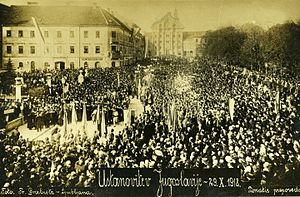 Yugoslavism - Proclamation of the State of Slovenes, Croats and Serbs on Congress Square in Ljubljana, October 29, 1918