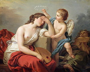 Louis-Jean-François Lagrenée - The love of art comforts painting, over the ridiculous and venomous writings of her enemies, (1781).