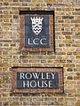 LCC plaques on Rowley House, Watergate Street - Trevithick Street, SE8 - geograph.org.uk - 1496674.jpg