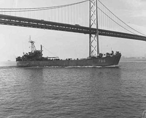 LST-786 passing under the San Francisco – Oakland Bay Bridge, 20 August 1966